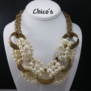 Chico's Faux Pearls Brass Loop Statement Necklace